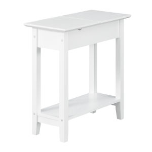 American Heritage White Flip Top End Table with Charging Station