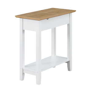 American Heritage Driftwood and White Flip Top End Table with Charging Station