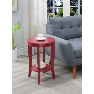 American Heritage Cranberry Red 18-Inch Round End Table