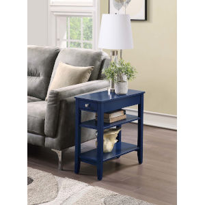 American Heritage Cobalt Blue 11-Inch Three Tier End Table With Drawer