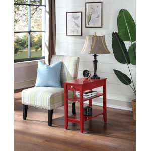 American Heritage Cranberry Red 11-Inch Three Tier End Table With Drawer