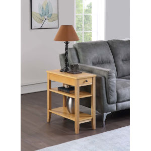American Heritage Natural 11-Inch Three Tier End Table With Drawer