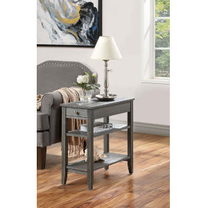 American Heritage Dark Gray Wirebrush 11-Inch Three Tier End Table With Drawer