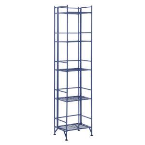 Xtra Storage Cobalt Blue 11-Inch Five-Tier Folding Metal Shelf