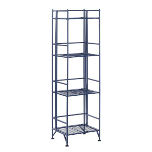 Xtra Storage Cobalt Blue Four-Tier Folding Metal Shelf