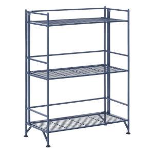 Xtra Storage Cobalt Blue Three-Tier Wide Folding Metal Shelf