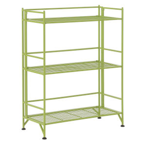 Xtra Storage Lime Three-Tier Wide Folding Metal Shelf