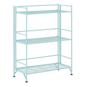 Xtra Storage Seafoam Three-Tier Wide Folding Metal Shelf