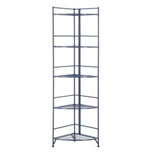 Xtra Storage Cobalt Blue 14-Inch Five-Tier Folding Metal Shelf