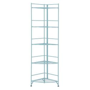 Xtra Storage Seafoam 14-Inch Five-Tier Folding Metal Shelf