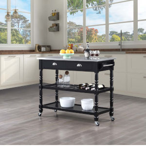 French Country Black Kitchen Cart