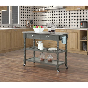 French Country 3 Tier Stainless Steel Kitchen Cart with Drawers