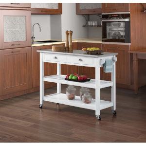 American Heritage White Kitchen Cart