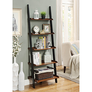French Country Dark Walnut Bookshelf Ladder