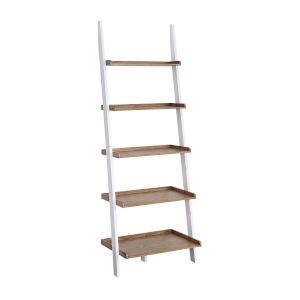 American Heritage Driftwood White Bookshelf Ladder