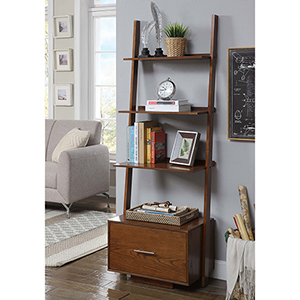 American Heritage Dark Walnut Ladder Bookcase with File Drawer