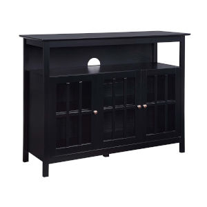 Big Sur Black 48-Inch TV Stand with Storage Cabinets and Shelf
