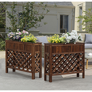 Planters and Potts Large Weathered Cedar Raised Patio Planter