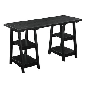 Designs2go Black Double Trestle Desk