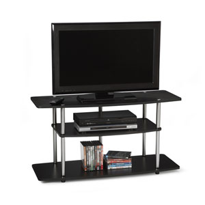 Designs2Go Black Wide Three-Tier TV Stand