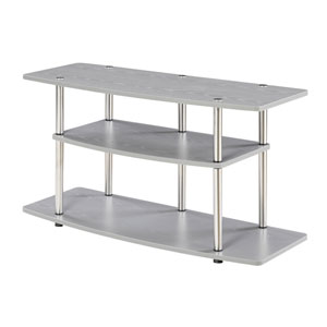 3 Tier Wide TV Stand, Gray