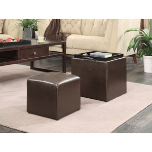 Designs4Comfort Park Avenue Espresso Single Ottoman with Stool