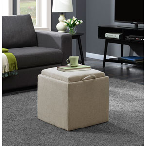 Designs4Comfort Soft Beige Park Avenue Single Ottoman with Stool