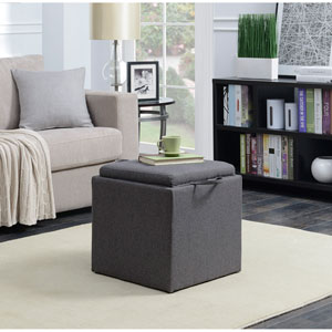 Designs4Comfort Soft Gray Park Avenue Single Ottoman with Stool