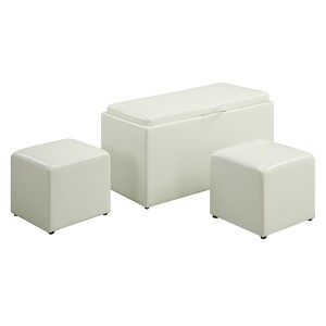 Designs4Comfort Sheridan White Storage Bench with Two-Side Ottoman