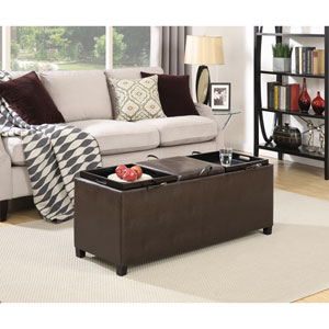 Designs4Comfort Tribeca Espresso Ottoman with Three Tray Tops