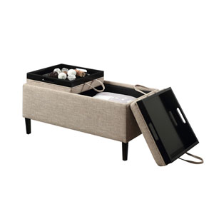 Designs4Comfort Tan Magnolia Storage Ottoman with Trays