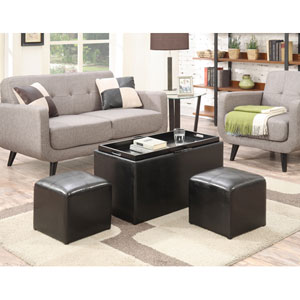 Designs4Comfort Black Faux Leather Sheridan Storage Bench with Two Side Ottomans