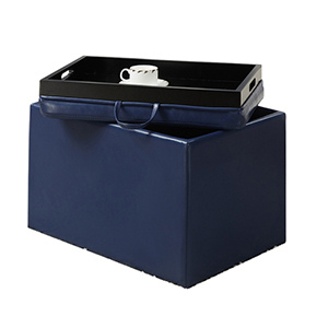 Designs4Comfort Blue Accent Storage Ottoman with Tray Top