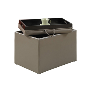 Designs4Comfort Grey Accent Storage Ottoman with Tray Top
