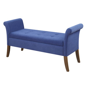 Garbo Storage Bench, Blue Fabric