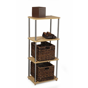 Designs2Go Natural Four-Tier Natural Bookshelf