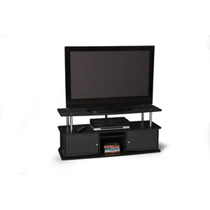 Designs2Go Black TV Stand with Three Cabinets