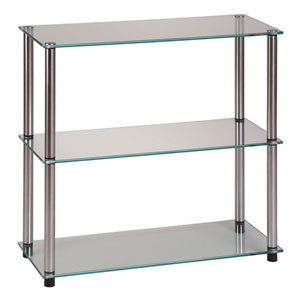 Classic Glass Stainless Steel Three Shelf Bookcase