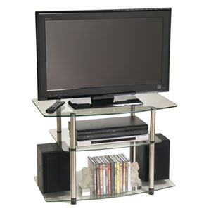 Classic Glass Stainless Steel TV Stand