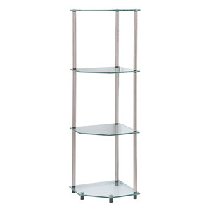 Classic Glass Stainless Steel Four-Tier Corner Shelf