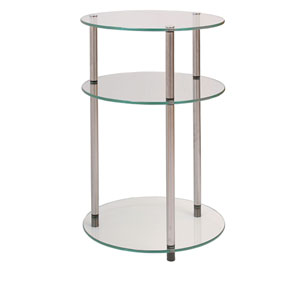 Classic Glass Stainless Steel Three-Tier Round Table
