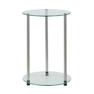 Designs2Go Glass 2 Tier Round End Table