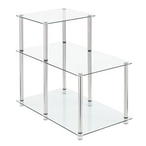 3 Tier Glass Step End Table