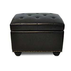 Designs4Comfort Black Fifth Avenue Storage Ottoman