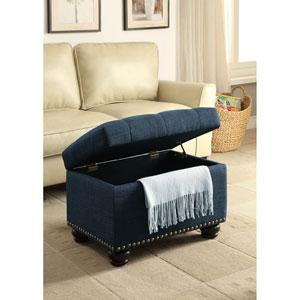 5Th Avenue Blue Fabric Storage Ottoman