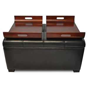 Designs4Comfort Espresso Storage Ottoman with Trays