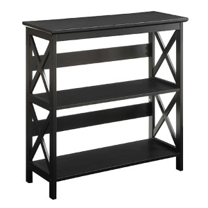 Oxford Black Three-Tier Bookcase