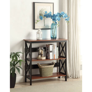 Oxford Cherry with Black 3 Tier Bookcase