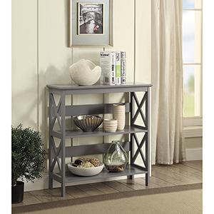 Oxford 3-Tier Bookcase, Gray