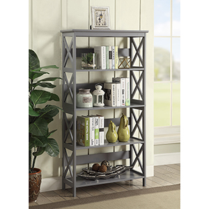 Oxford 5-Tier Bookcase, Gray